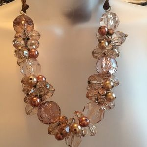 Jewelry - Clear, taupe, copper and gold beaded necklace